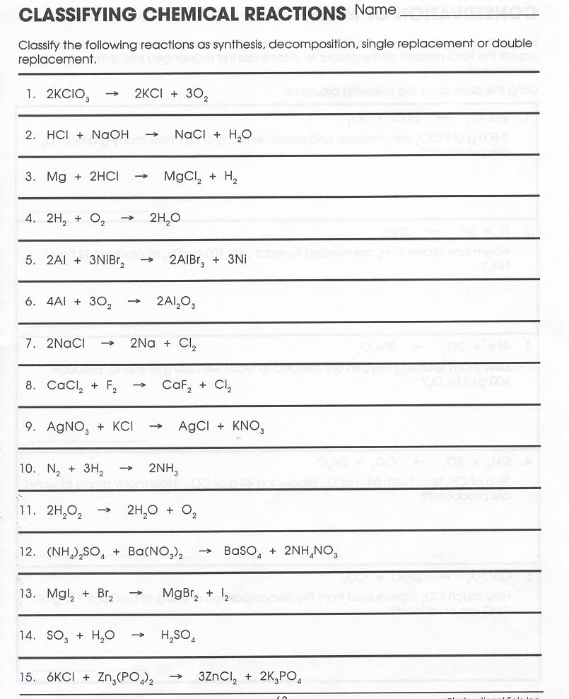 Classwork and worksheets SCIENCE WITH SEAFORD – Classifying Reactions Worksheet